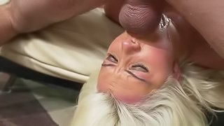Blonde bitch gets face fucked so hard