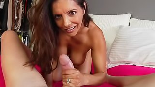 sexy MILF Francesca Le with long dark hair shows her nice boobs in bed as she stokes a white dick from your perspective. She wraps her hands around that meat pole and makes man happy