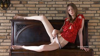Skinny Girl With White Panties On The Piano