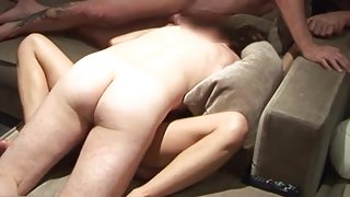 Asian whore wife fucked hard by two white men